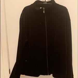 Chico's black velvet zipper jacket and pants, sz 3